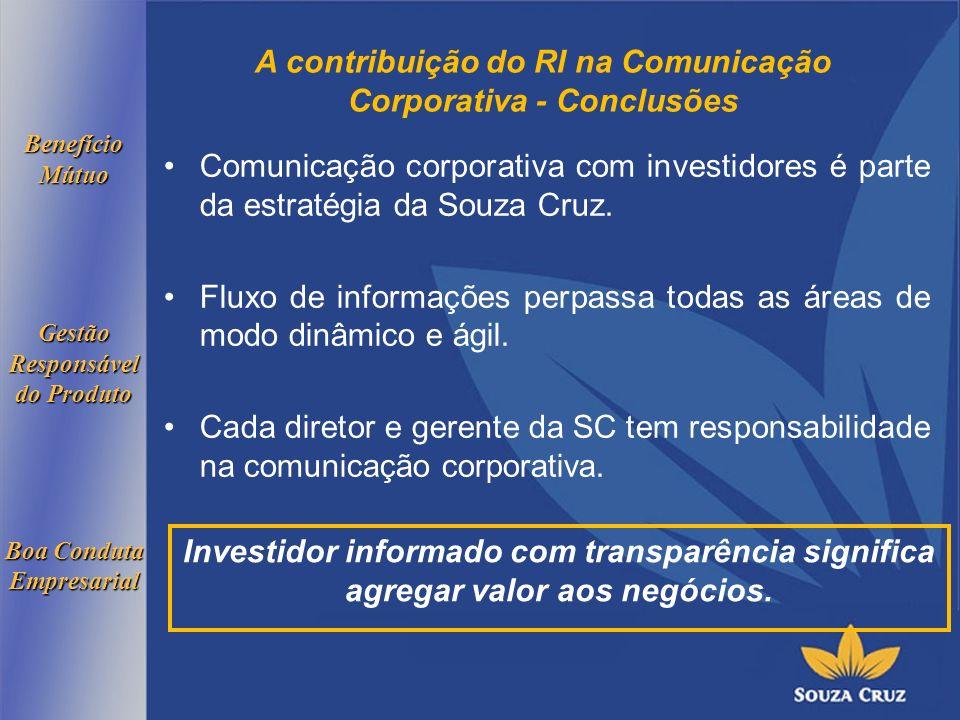 A contribuição do RI na Comunicação Corporativa - Conclusões Comunicação corporativa com investidores é parte da estratégia da Souza Cruz.