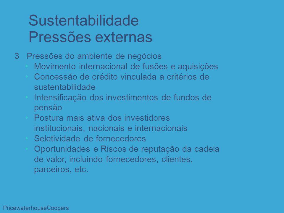3 Pressões do ambiente de negócios Movimento internacional de fusões e aquisições Concessão de crédito vinculada a critérios de sustentabilidade Inten