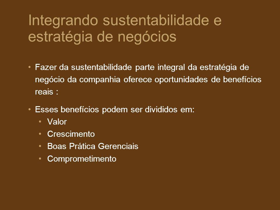 Fazer da sustentabilidade parte integral da estratégia de negócio da companhia oferece oportunidades de benefícios reais : Esses benefícios podem ser