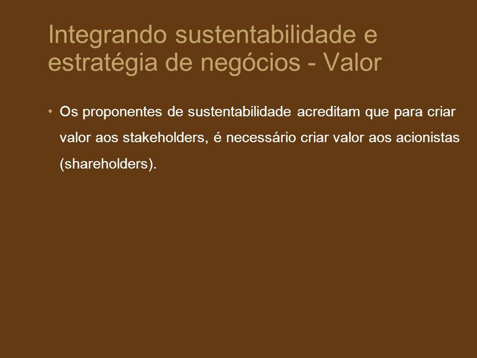 Integrando sustentabilidade e estratégia de negócios - Valor Os proponentes de sustentabilidade acreditam que para criar valor aos stakeholders, é nec