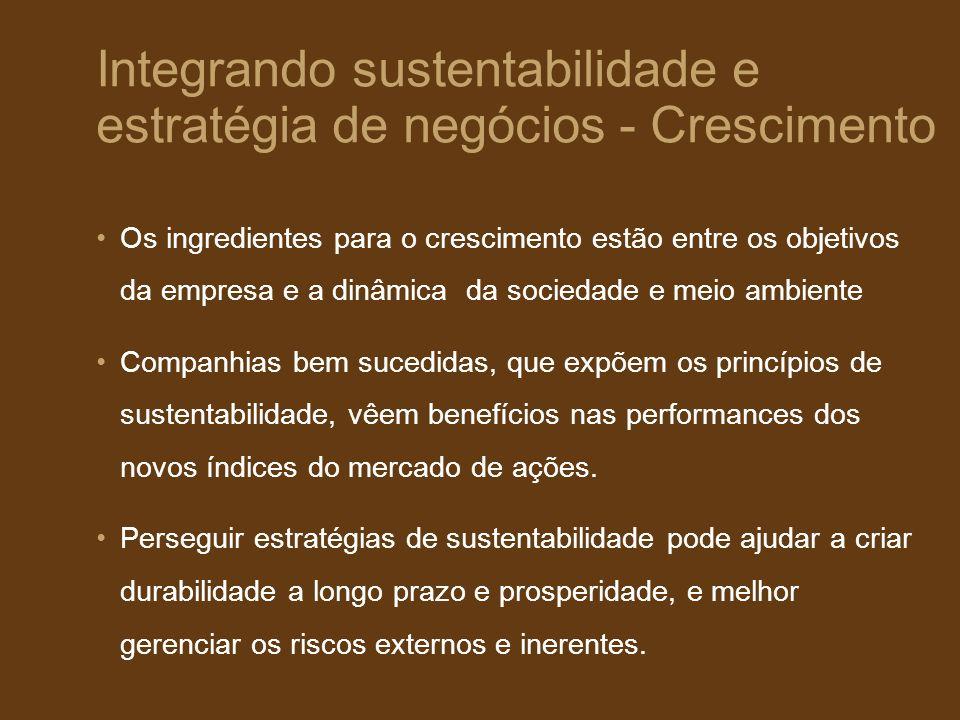 Integrando sustentabilidade e estratégia de negócios - Crescimento Os ingredientes para o crescimento estão entre os objetivos da empresa e a dinâmica