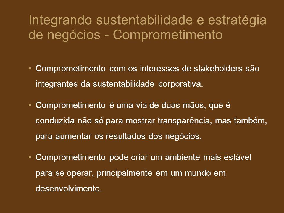 Integrando sustentabilidade e estratégia de negócios - Comprometimento Comprometimento com os interesses de stakeholders são integrantes da sustentabi