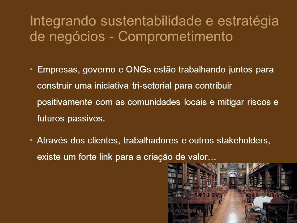 Integrando sustentabilidade e estratégia de negócios - Comprometimento Empresas, governo e ONGs estão trabalhando juntos para construir uma iniciativa