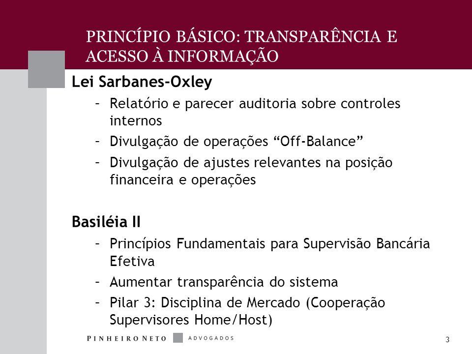 3 PRINCÍPIO BÁSICO: TRANSPARÊNCIA E ACESSO À INFORMAÇÃO Lei Sarbanes-Oxley –Relatório e parecer auditoria sobre controles internos –Divulgação de operações Off-Balance –Divulgação de ajustes relevantes na posição financeira e operações Basiléia II –Princípios Fundamentais para Supervisão Bancária Efetiva –Aumentar transparência do sistema –Pilar 3: Disciplina de Mercado (Cooperação Supervisores Home/Host)