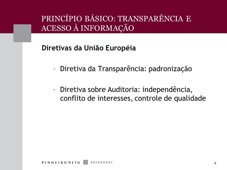 4 Diretivas da União Européia –Diretiva da Transparência: padronização –Diretiva sobre Auditoria: independência, conflito de interesses, controle de qualidade PRINCÍPIO BÁSICO: TRANSPARÊNCIA E ACESSO À INFORMAÇÃO
