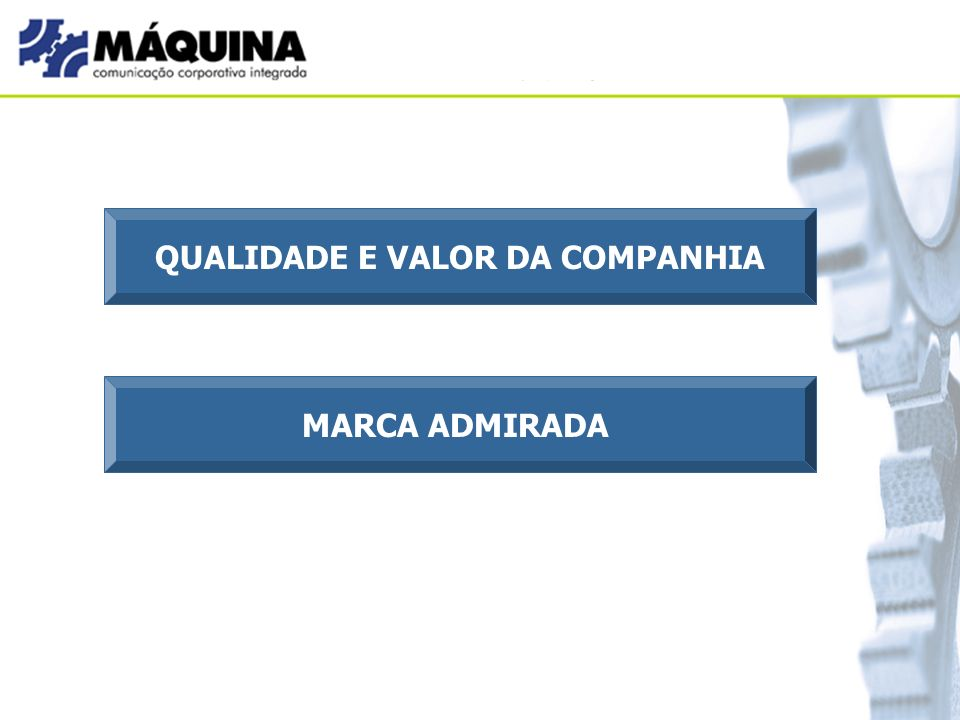 QUALIDADE E VALOR DA COMPANHIA MARCA ADMIRADA