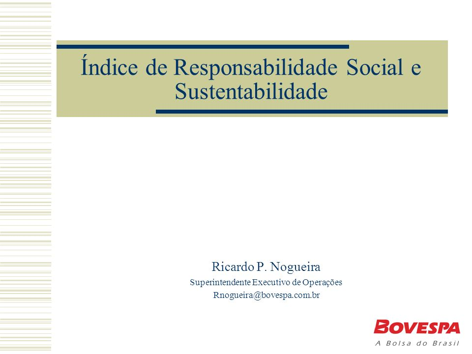 Índice de Responsabilidade Social e Sustentabilidade Ricardo P.