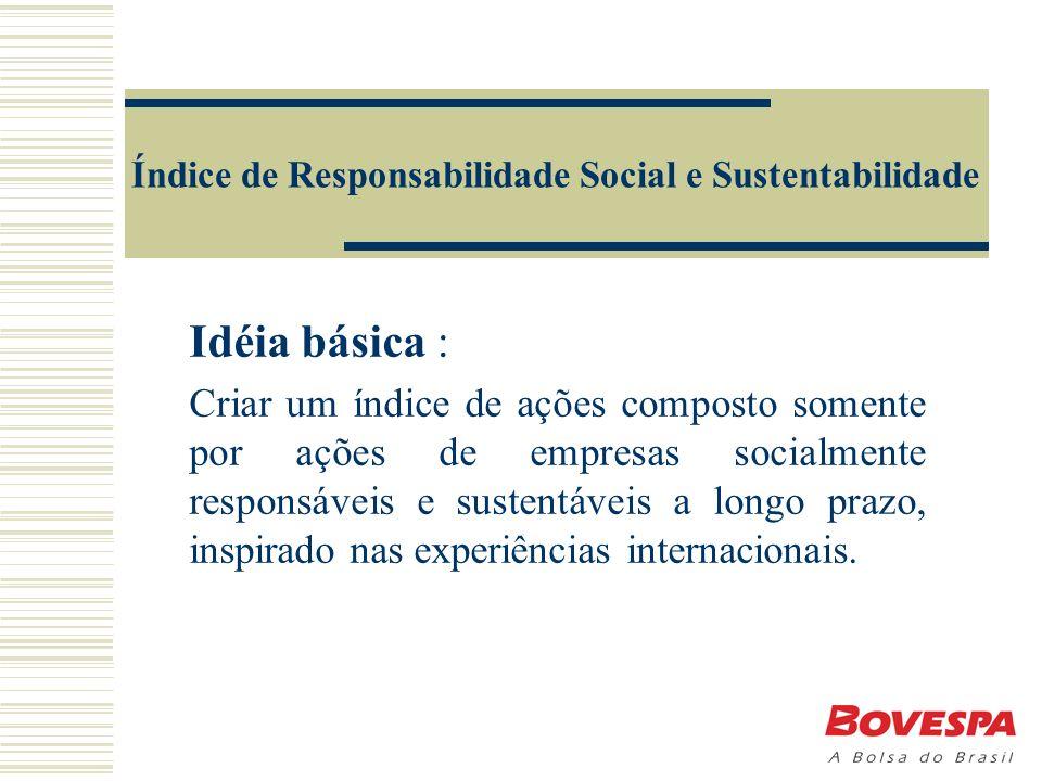 Índice de Responsabilidade Social e Sustentabilidade Idéia básica : Criar um índice de ações composto somente por ações de empresas socialmente responsáveis e sustentáveis a longo prazo, inspirado nas experiências internacionais.