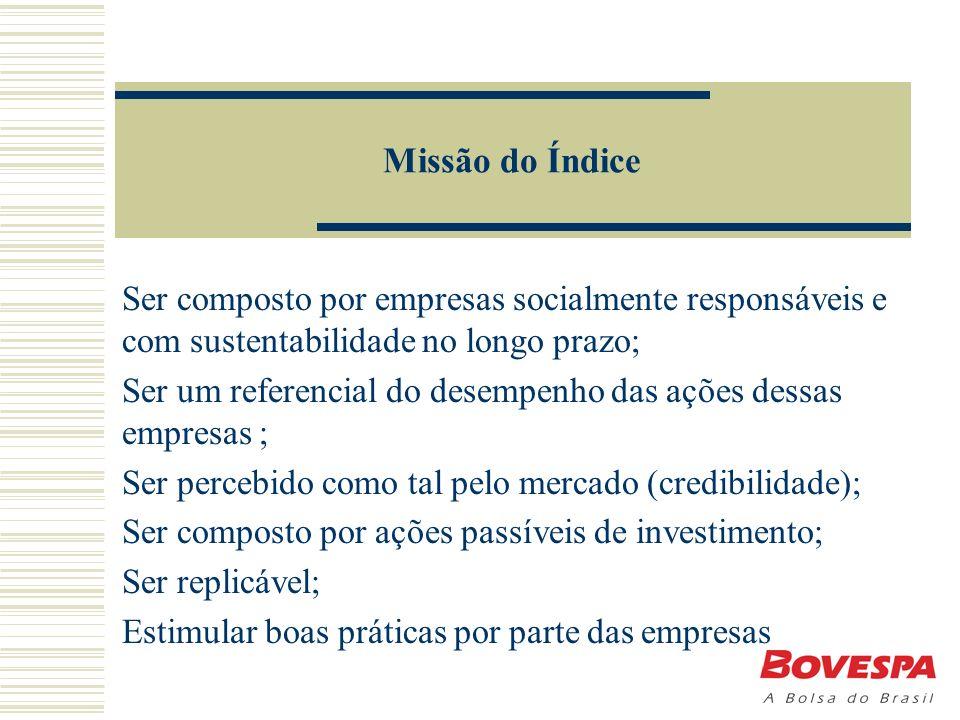 Missão do Índice Ser composto por empresas socialmente responsáveis e com sustentabilidade no longo prazo; Ser um referencial do desempenho das ações dessas empresas ; Ser percebido como tal pelo mercado (credibilidade); Ser composto por ações passíveis de investimento; Ser replicável; Estimular boas práticas por parte das empresas