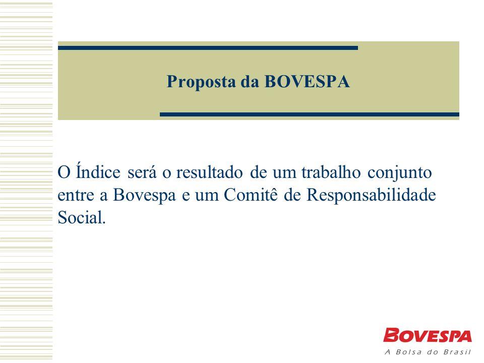 Proposta da BOVESPA O Índice será o resultado de um trabalho conjunto entre a Bovespa e um Comitê de Responsabilidade Social.
