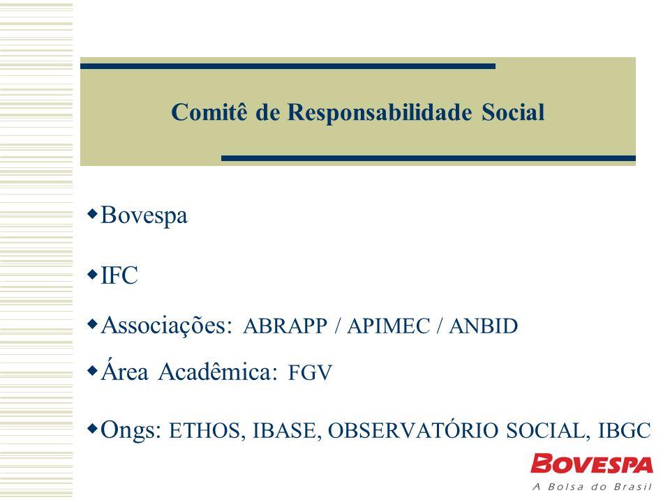 Comitê de Responsabilidade Social Bovespa IFC Associações: ABRAPP / APIMEC / ANBID Área Acadêmica: FGV Ongs: ETHOS, IBASE, OBSERVATÓRIO SOCIAL, IBGC