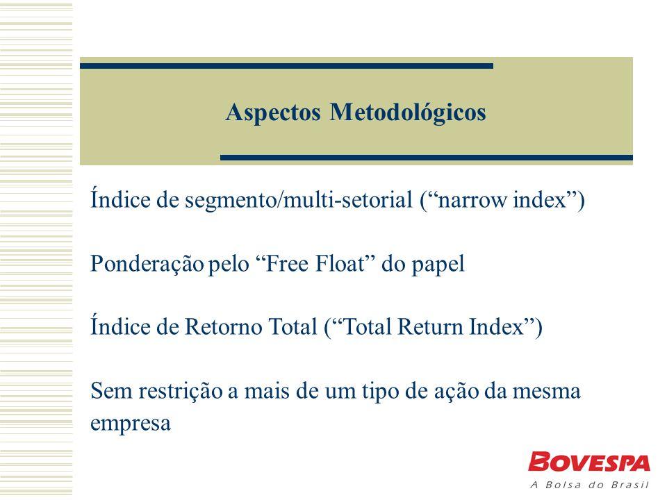 Aspectos Metodológicos Índice de segmento/multi-setorial (narrow index) Ponderação pelo Free Float do papel Índice de Retorno Total (Total Return Index) Sem restrição a mais de um tipo de ação da mesma empresa