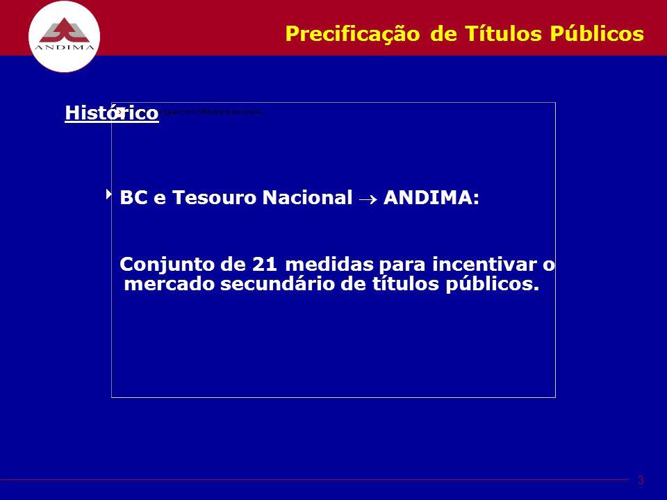 3 Precificação de Títulos Públicos Histórico BC e Tesouro Nacional ANDIMA: Conjunto de 21 medidas para incentivar o mercado secundário de títulos públicos.