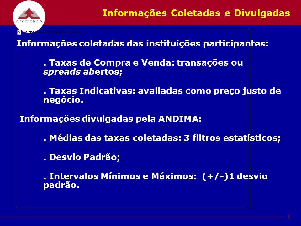 8 Informações Coletadas e Divulgadas Informações coletadas das instituições participantes:.