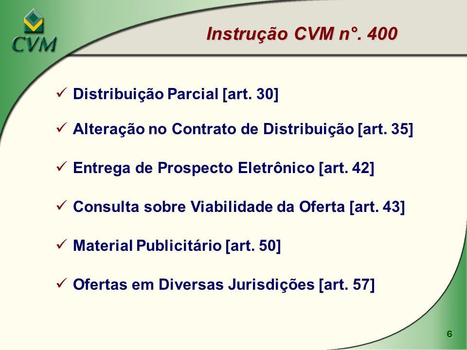 6 Instrução CVM n°. 400 Distribuição Parcial [art. 30] Alteração no Contrato de Distribuição [art. 35] Entrega de Prospecto Eletrônico [art. 42] Consu