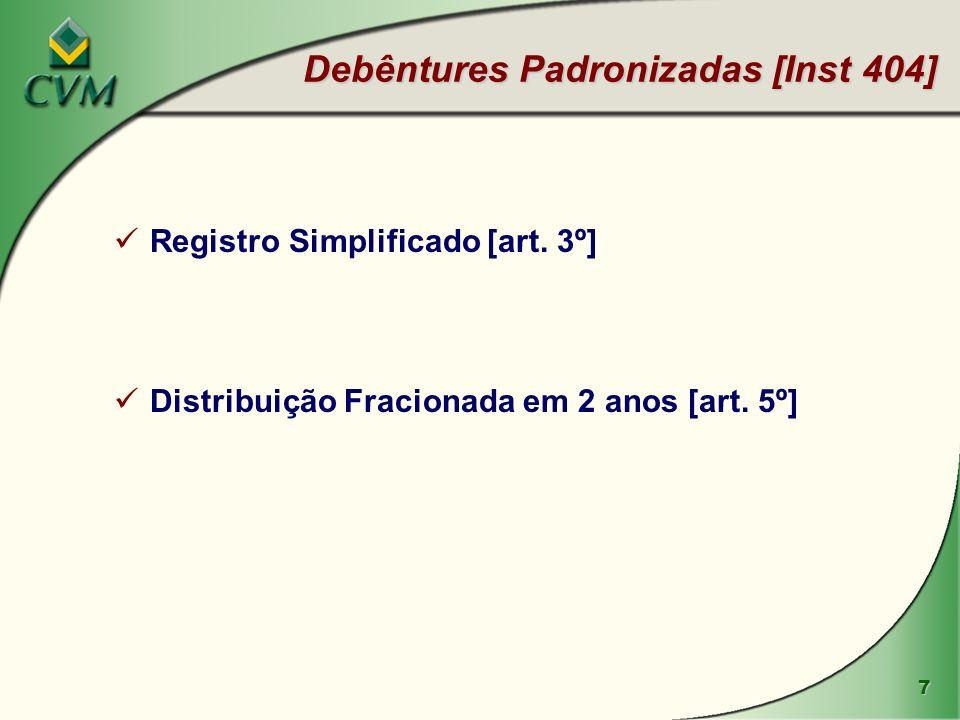 7 Debêntures Padronizadas [Inst 404] Registro Simplificado [art. 3º] Distribuição Fracionada em 2 anos [art. 5º]