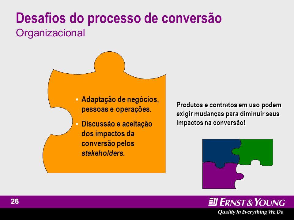 27 Desafios do processo de conversão Lições aprendidas O processo de conversão é mais do que um exercício técnico, uma vez que importantes desafios e oportunidades podem ser identificados.