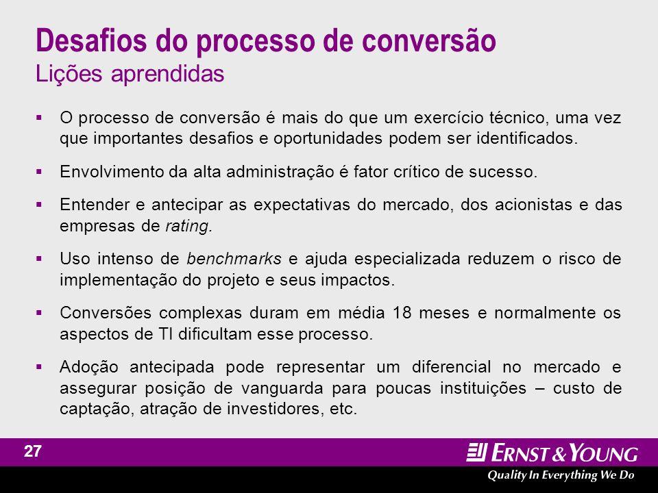 Assurance and Advisory Business Services International Financial Reporting Standards Pesquisa EY sobre implementação de IFRS (disponível www.ey.com.br)