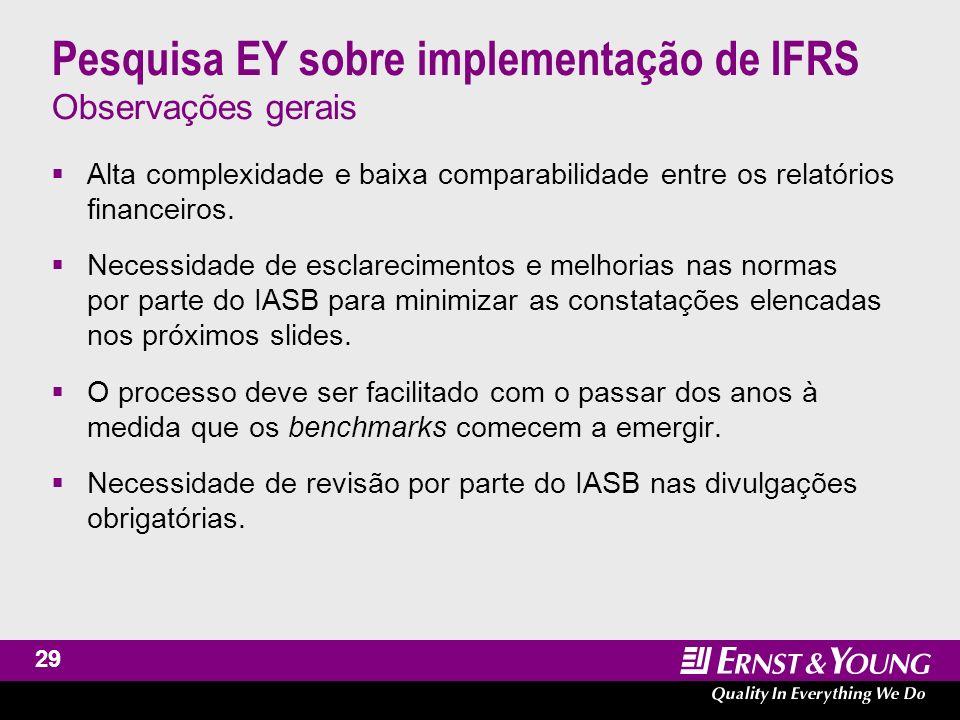 30 Pesquisa EY sobre implementação de IFRS As DFs em IFRS ainda apresentam influência nacional As DFs de uma empresa de varejo na França são mais parecidas com as DFs de uma empresa de manufatura francesa do que um varejista inglês.
