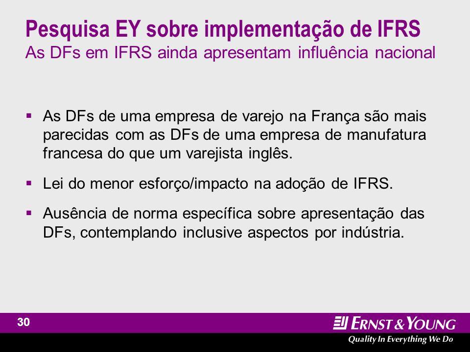 31 Pesquisa EY sobre implementação de IFRS Extenso uso de julgamento por parte da administração O próprio IFRS, por ser baseado em princípios, abre a possibilidade de julgamento por parte dos administradores.