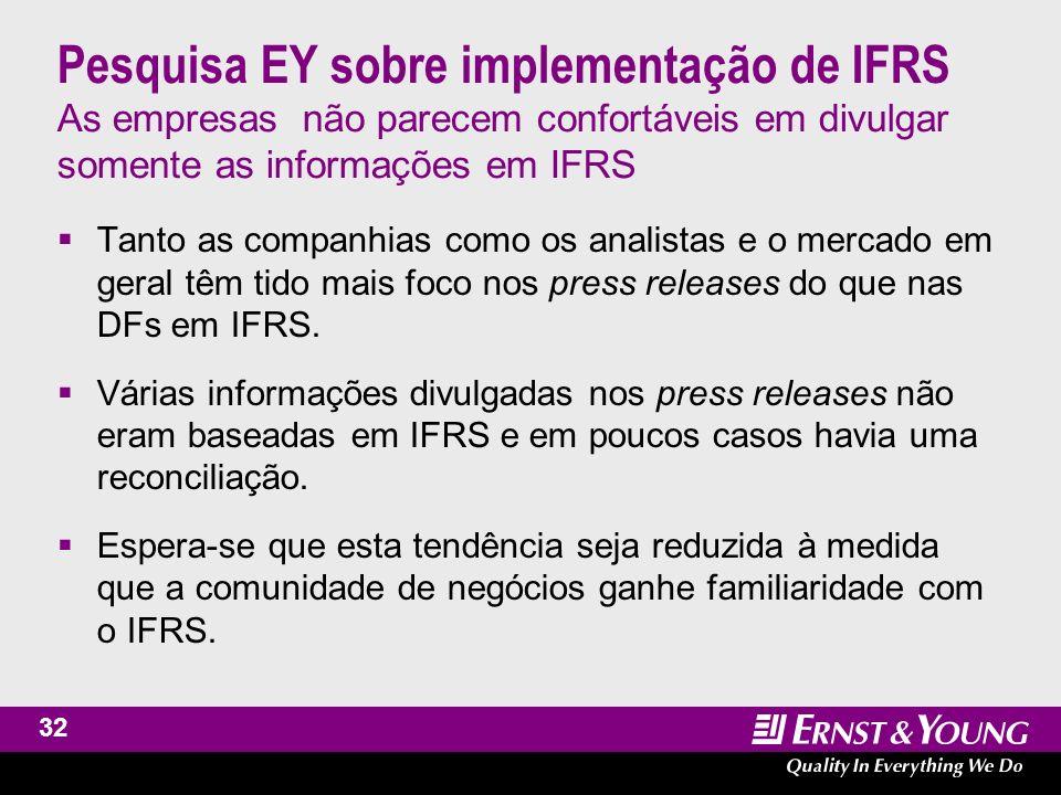 33 Pesquisa EY sobre implementação de IFRS As DFs em IFRS são significativamente mais extensas e complexas As DFs em IFRS são, em linhas gerais, entre 30% ou 40% mais extensas.