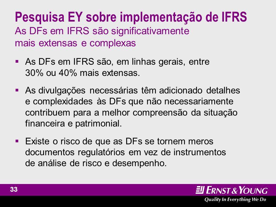34 Pesquisa EY sobre implementação de IFRS Conclusão Embora a consistência, a comparabilidade e o conteúdo das DFs em IFRS tenham apresentado grande melhoria, ainda há muito a fazer nos próximos anos para atingir o objetivo final do IASC com o IFRS.