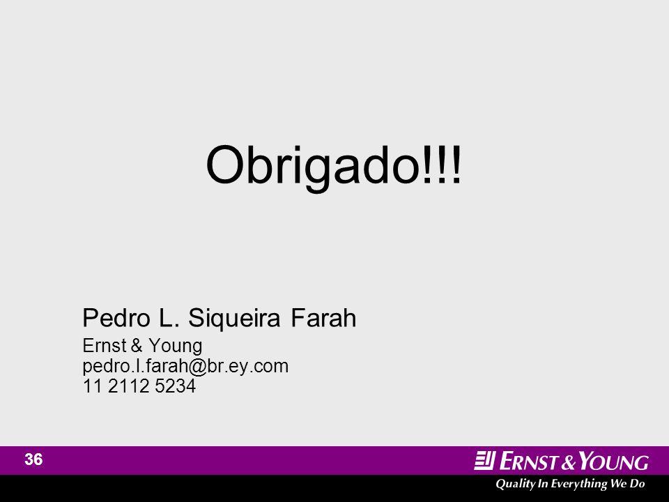 36 Obrigado!!! Pedro L. Siqueira Farah Ernst & Young pedro.l.farah@br.ey.com 11 2112 5234
