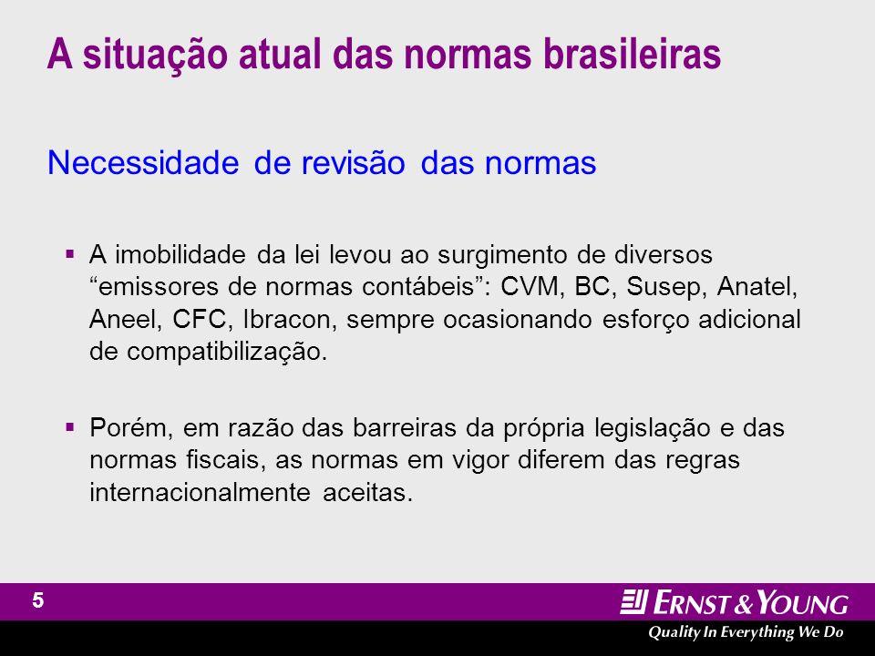 6 A situação atual das normas brasileiras Necessidade de revisão das normas DCs de empresas brasileiras precisam comunicar-se com os mercados financeiros e de negócios do mundo.