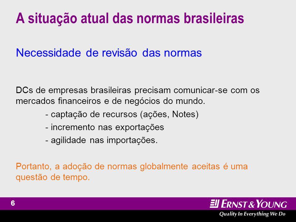 7 A situação atual das normas brasileiras Reação e modernização progressiva do mercado Normas específicas às empresas abertas Normas específicas às indústrias reguladas Demonstrações contábeis complementares - para órgãos reguladores e de mercado - para captações no exterior - para consolidação nas matrizes no exterior.