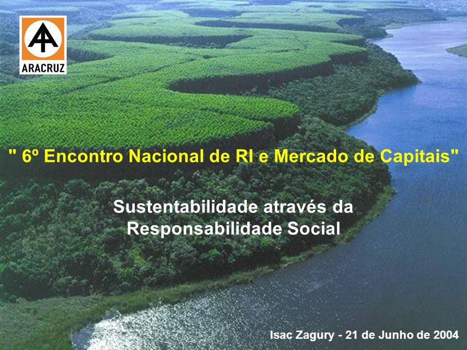 1 6º Encontro Nacional de RI e Mercado de Capitais Sustentabilidade através da Responsabilidade Social Isac Zagury - 21 de Junho de 2004