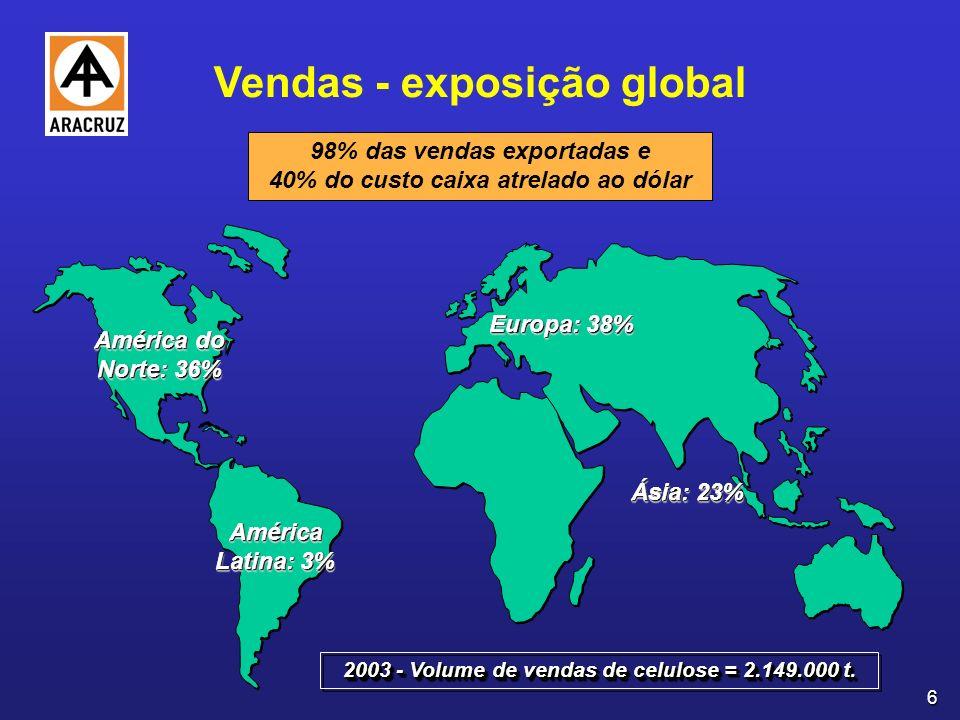 6 Europa: 38% Ásia: 23% América do Norte: 36% América Latina: 3% 2003 - Volume de vendas de celulose = 2.149.000 t.