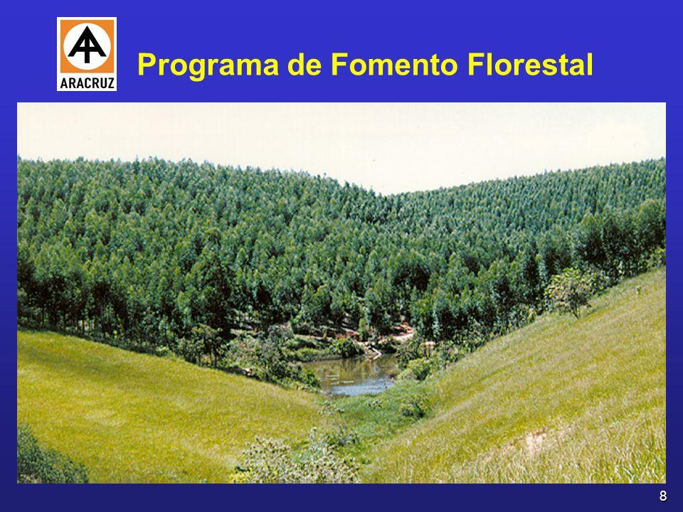 9 Instituído em 1990 Estimular a criação de um mercado regional de madeira Fonte alternativa de suprimento, para a própria empresa e para outras atividades Parceria celebrada entre a Aracruz Celulose S.A.