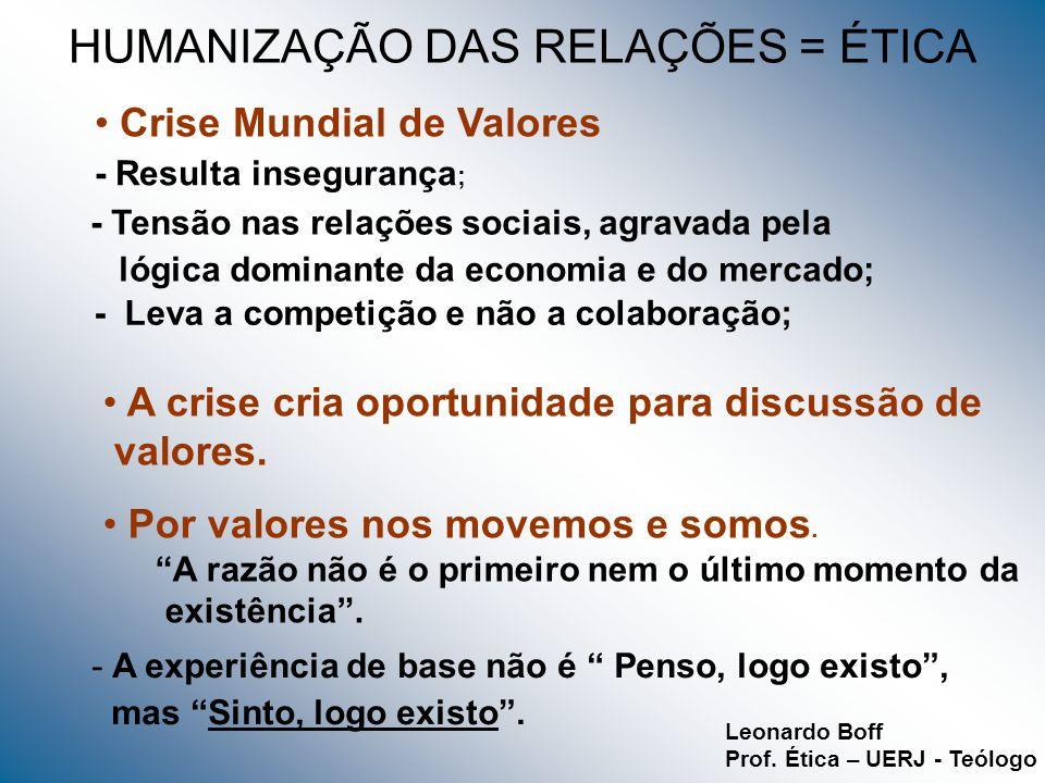 HUMANIZAÇÃO DAS RELAÇÕES = ÉTICA Crise Mundial de Valores - Resulta insegurança ; - Tensão nas relações sociais, agravada pela lógica dominante da eco