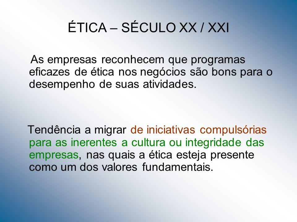 ÉTICA – SÉCULO XX / XXI As empresas reconhecem que programas eficazes de ética nos negócios são bons para o desempenho de suas atividades. Tendência a