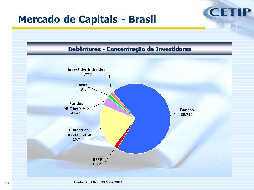 18 Fonte: CETIP – 31/05/2007 Mercado de Capitais - Brasil Debêntures - Concentração de Investidores