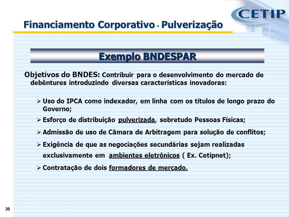 20 Objetivos do BNDES: Contribuir para o desenvolvimento do mercado de debêntures introduzindo diversas características inovadoras: Uso do IPCA como i