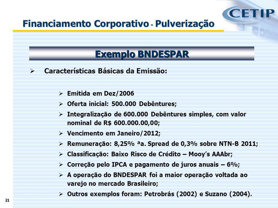 21 Características Básicas da Emissão: Emitida em Dez/2006 Oferta inicial: 500.000 Debêntures; Integralização de 600.000 Debêntures simples, com valor