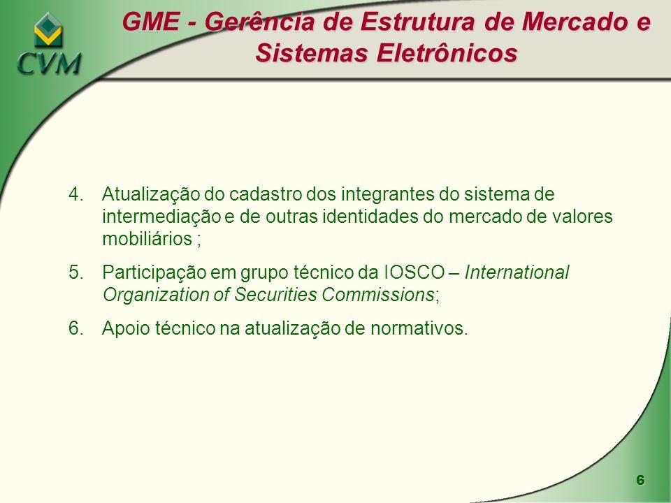 17 Estatísticas da GMA-2 Observação: para efeitos dessa estatística, o campo outros refere-se a análises envolvendo (i) operações estruturadas envolvendo mais de um ambiente de negociação, (ii) consultas de regulamentação e (iii) eventos relacionados ao Projeto do Banco Mundial.
