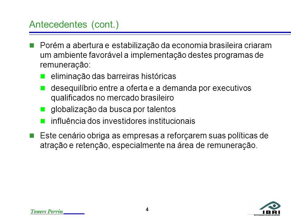 4 Antecedentes (cont.) Porém a abertura e estabilização da economia brasileira criaram um ambiente favorável a implementação destes programas de remun