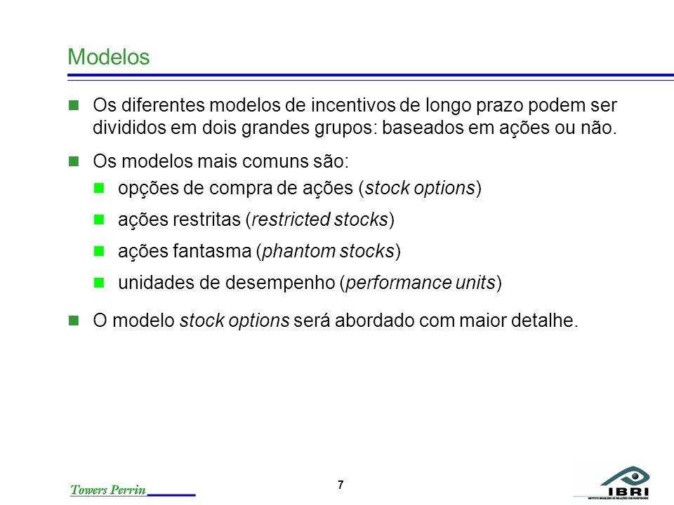 7 Modelos Os diferentes modelos de incentivos de longo prazo podem ser divididos em dois grandes grupos: baseados em ações ou não. Os modelos mais com