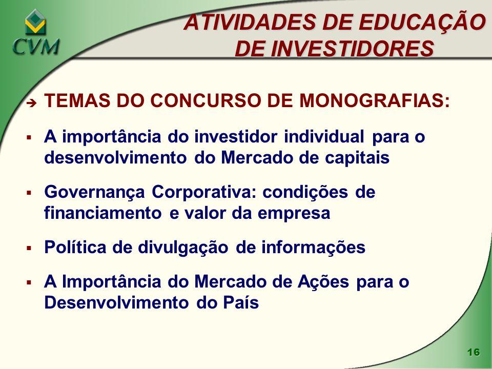 16 ATIVIDADES DE EDUCAÇÃO DE INVESTIDORES è TEMAS DO CONCURSO DE MONOGRAFIAS: A importância do investidor individual para o desenvolvimento do Mercado