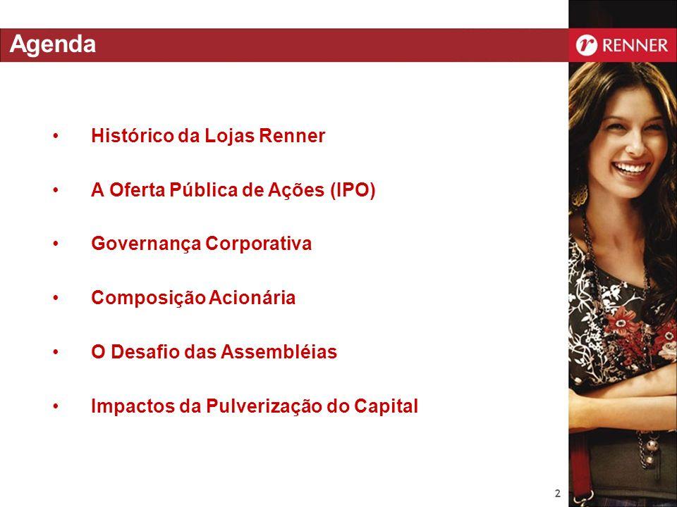 2 Histórico da Lojas Renner A Oferta Pública de Ações (IPO) Governança Corporativa Composição Acionária O Desafio das Assembléias Impactos da Pulveriz