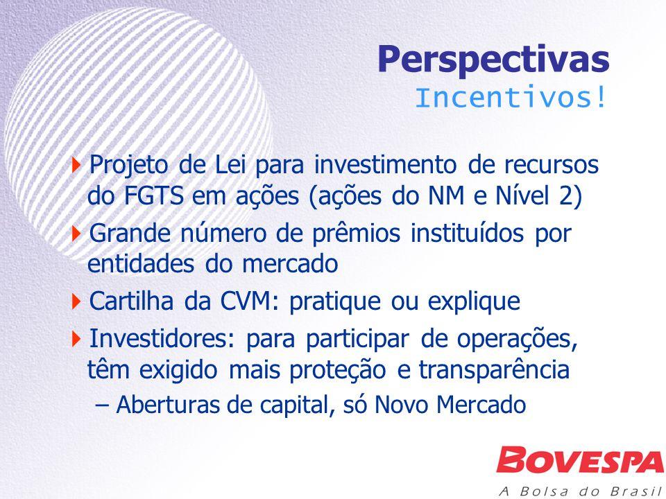 Perspectivas Incentivos! Projeto de Lei para investimento de recursos do FGTS em ações (ações do NM e Nível 2) Grande número de prêmios instituídos po