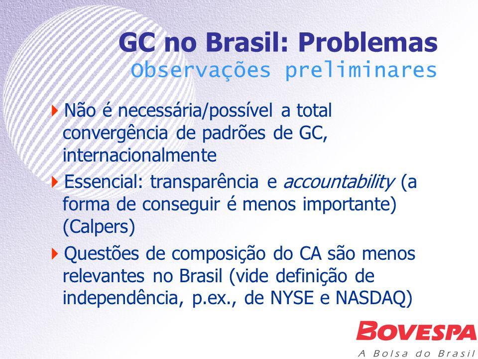GC no Brasil: Problemas Observações preliminares Não é necessária/possível a total convergência de padrões de GC, internacionalmente Essencial: transp