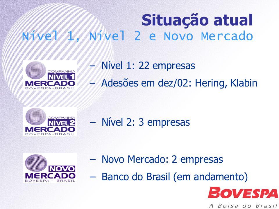 Situação atual Nível 1, Nível 2 e Novo Mercado –Nível 1: 22 empresas –Adesões em dez/02: Hering, Klabin –Novo Mercado: 2 empresas –Banco do Brasil (em