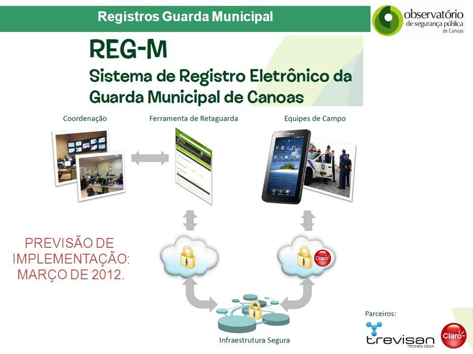 Registros Guarda Municipal PREVISÃO DE IMPLEMENTAÇÃO: MARÇO DE 2012.