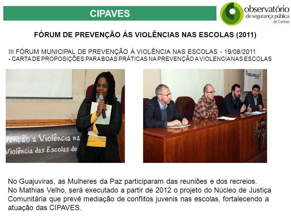 CIPAVES FÓRUM DE PREVENÇÃO ÀS VIOLÊNCIAS NAS ESCOLAS (2011) III FÓRUM MUNICIPAL DE PREVENÇÃO À VIOLÊNCIA NAS ESCOLAS - 19/08/2011 - CARTA DE PROPOSIÇÕ