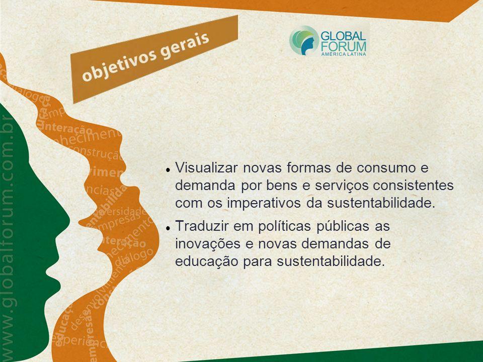 Visualizar novas formas de consumo e demanda por bens e serviços consistentes com os imperativos da sustentabilidade. Traduzir em políticas públicas a