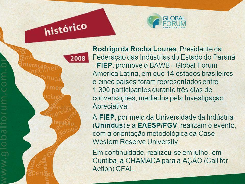 Rodrigo da Rocha Loures, Presidente da Federação das Indústrias do Estado do Paraná - FIEP, promove o BAWB - Global Forum America Latina, em que 14 es