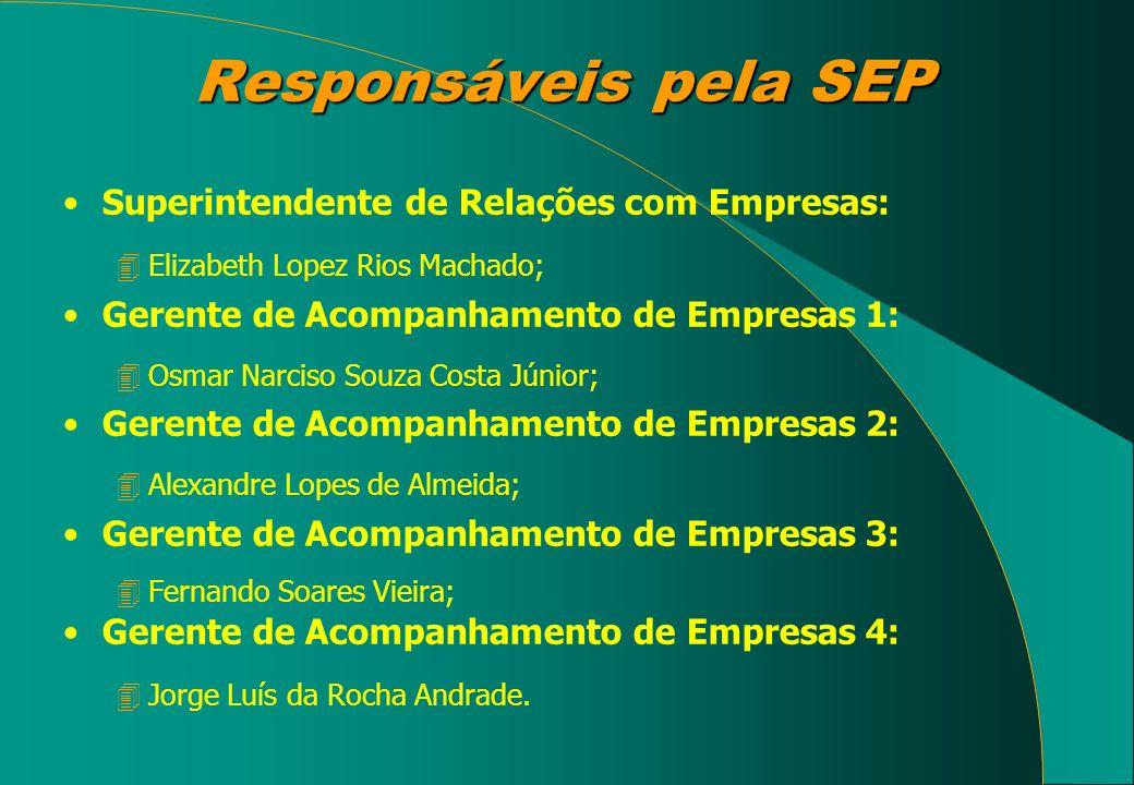 Responsáveis pela SEP Superintendente de Relações com Empresas: 4Elizabeth Lopez Rios Machado; Gerente de Acompanhamento de Empresas 1: 4Osmar Narciso